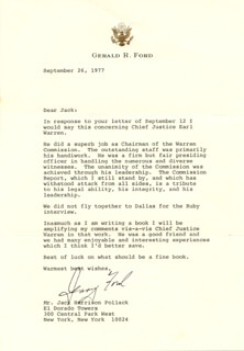 PRESIDENT GERALD R. FORD - TYPED LETTER SIGNED 09/26/1977