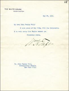 PRESIDENT WILLIAM H. TAFT - TYPED LETTER SIGNED 05/27/1910