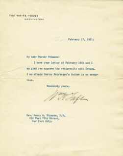 PRESIDENT WILLIAM H. TAFT - TYPED LETTER SIGNED 02/17/1911