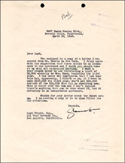 GROUCHO (JULIUS) MARX - TYPED LETTER SIGNED 04/30/1943