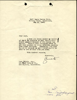 GROUCHO (JULIUS) MARX - TYPED LETTER SIGNED 05/26/1943