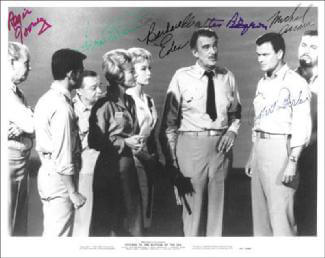 VOYAGE TO THE BOTTOM OF THE SEA MOVIE CAST - AUTOGRAPHED SIGNED PHOTOGRAPH CO-SIGNED BY: ROBERT STERLING, WALTER PIDGEON, JOAN FONTAINE, BARBARA EDEN, MICHAEL ANSARA, REGIS TOOMEY