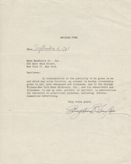ELIZABETH LIZ TAYLOR - DOCUMENT SIGNED 09/16/1947