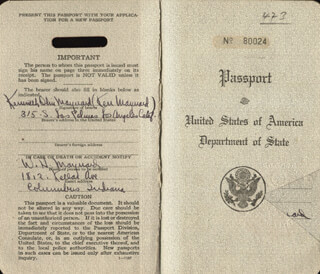 KEN MAYNARD - PASSPORT SIGNED TWICE 02/28/1934