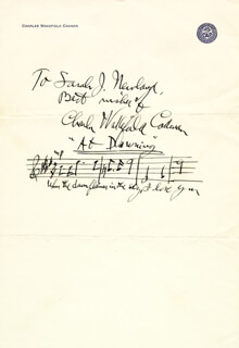 CHARLES WAKEFIELD CADMAN - AUTOGRAPH MUSICAL QUOTATION SIGNED