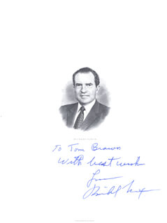 PRESIDENT RICHARD M. NIXON - INSCRIBED ENGRAVING SIGNED