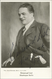 EMANUEL LIST - PICTURE POST CARD SIGNED 1935