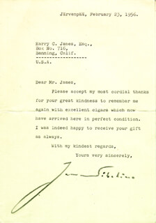JEAN SIBELIUS - TYPED LETTER SIGNED 02/23/1956