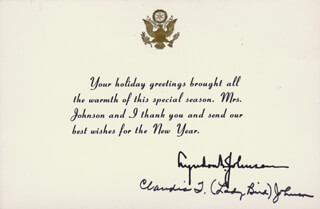 Autographs: FIRST LADY LADY BIRD JOHNSON - WHITE HOUSE CHRISTMAS CARD SIGNED