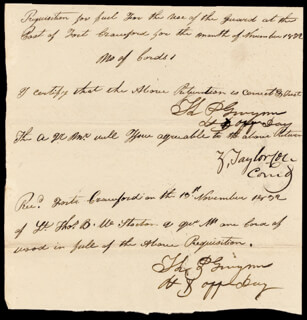 PRESIDENT ZACHARY TAYLOR - MANUSCRIPT ENDORSMENT SIGNED 11/13/1832 CO-SIGNED BY: THOMAS P. GWYNN