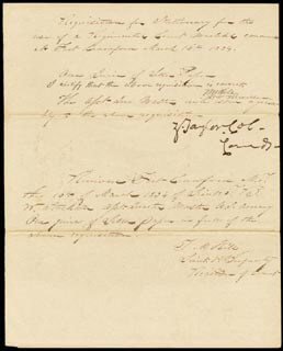 Autographs: PRESIDENT ZACHARY TAYLOR - MANUSCRIPT DOCUMENT SIGNED 03/16/1834 CO-SIGNED BY: T. M. HILL