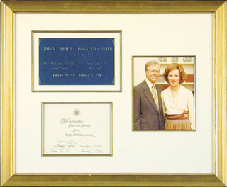 Autographs: PRESIDENT JAMES E. JIMMY CARTER - WHITE HOUSE CHRISTMAS CARD SIGNED CO-SIGNED BY: FIRST LADY ROSALYNN CARTER