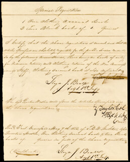 Autographs: PRESIDENT ZACHARY TAYLOR - MANUSCRIPT DOCUMENT SIGNED 05/07/1833 CO-SIGNED BY: LLOYD J. BEALL