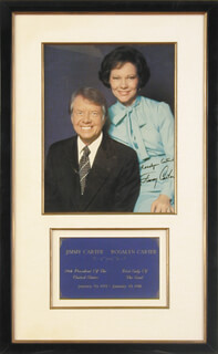 PRESIDENT JAMES E. JIMMY CARTER - AUTOGRAPHED SIGNED PHOTOGRAPH CO-SIGNED BY: FIRST LADY ROSALYNN CARTER