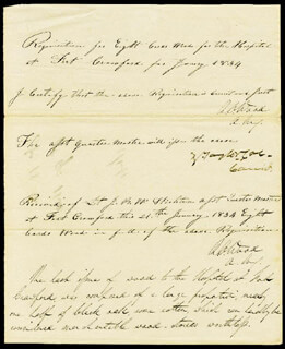 Autographs: PRESIDENT ZACHARY TAYLOR - MANUSCRIPT DOCUMENT SIGNED 1/1834 CO-SIGNED BY: BRIGADIER GENERAL ROBERT CROOKE WOOD