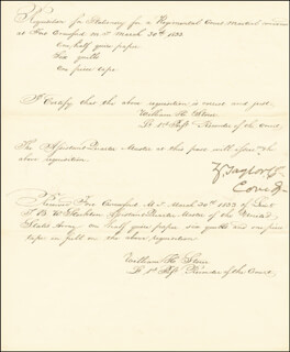 PRESIDENT ZACHARY TAYLOR - MANUSCRIPT ENDORSMENT SIGNED 03/30/1833 CO-SIGNED BY: WILLIAM H. STORER