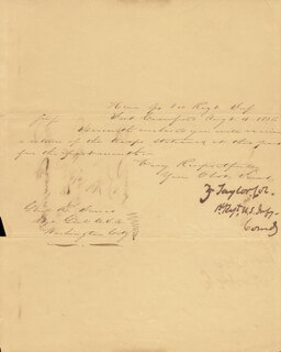 Autographs: PRESIDENT ZACHARY TAYLOR - MANUSCRIPT DOCUMENT SIGNED 08/04/1835
