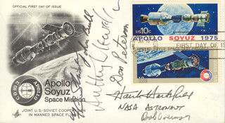 COLONEL ROBERT OVERMYER - FIRST DAY COVER SIGNED CO-SIGNED BY: JOHN S. BULL, JOHN ANTHONY LLEWELLYN, F. CURTIS MICHEL, COLONEL DONALD H. PETERSON, COLONEL HENRY HANK HARTSFIELD JR.