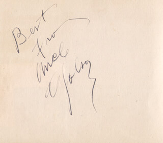 AL JOLSON - AUTOGRAPH SENTIMENT SIGNED CO-SIGNED BY: CATHY O'DONNELL
