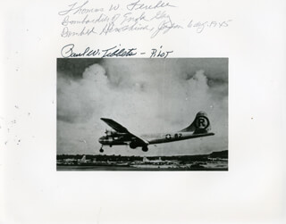 Autographs: ENOLA GAY CREW - PHOTOGRAPH SIGNED 08/06/1945 CO-SIGNED BY: ENOLA GAY CREW (PAUL W. TIBBETS), ENOLA GAY CREW (COLONEL THOMAS W. FEREBEE)