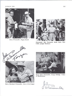 JOHNNY WEISSMULLER - BOOK PAGE SIGNED