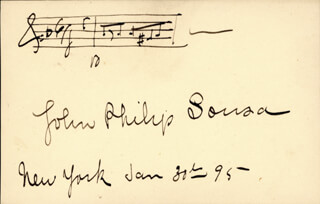 JOHN PHILIP THE MARCH KING SOUSA - AUTOGRAPH MUSICAL QUOTATION SIGNED 01/30/1895