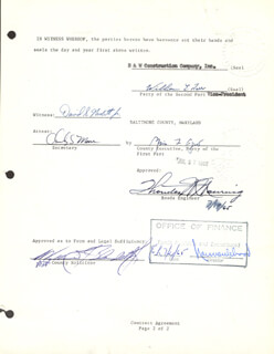 Autographs: VICE PRESIDENT SPIRO T. AGNEW - CONTRACT SIGNED 07/14/1965