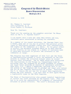 PRESIDENT GERALD R. FORD - TYPED LETTER SIGNED 10/02/1958