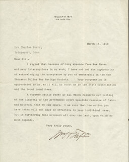 PRESIDENT WILLIAM H. TAFT - TYPED LETTER SIGNED 03/16/1918