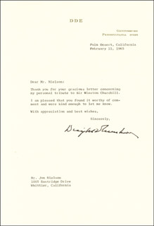 PRESIDENT DWIGHT D. EISENHOWER - TYPED LETTER SIGNED 02/11/1965