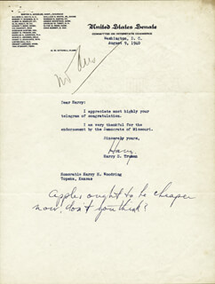 PRESIDENT HARRY S TRUMAN - TYPED LETTER SIGNED 08/09/1940