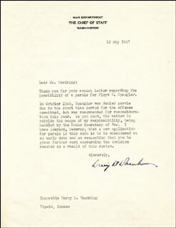 PRESIDENT DWIGHT D. EISENHOWER - TYPED LETTER SIGNED 05/12/1947