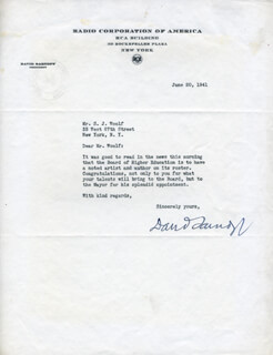 BRIGADIER GENERAL DAVID SARNOFF - TYPED LETTER SIGNED 06/20/1941