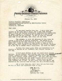 Autographs: CLARK GABLE - TYPED LETTER SIGNED 01/31/1944
