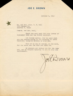 JOE E. BROWN - TYPED LETTER SIGNED 10/01/1945
