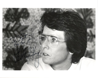 BILLIE JEAN KING - AUTOGRAPHED INSCRIBED PHOTOGRAPH