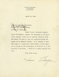PRESIDENT CALVIN COOLIDGE - TYPED LETTER SIGNED 04/24/1929