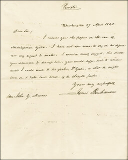 PRESIDENT JAMES BUCHANAN - AUTOGRAPH LETTER SIGNED 04/27/1848