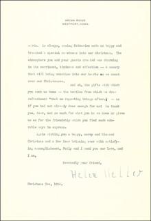 HELEN KELLER - TYPED LETTER SIGNED 12/24/1952