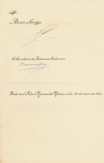 Autographs: PRESIDENT LAZARO CARDENAS (MEXICO) - MANUSCRIPT DOCUMENT SIGNED 06/12/1937 CO-SIGNED BY: GENERAL EDUARDO HAY