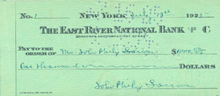 JOHN PHILIP THE MARCH KING SOUSA - AUTOGRAPHED SIGNED CHECK 07/13/1925 CO-SIGNED BY: JANE V. SOUSA