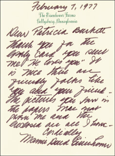 FIRST LADY MAMIE DOUD EISENHOWER - AUTOGRAPH LETTER SIGNED 02/07/1977