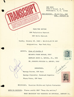 Autographs: APOLLO VIII - SCRIPT SIGNED CIRCA 1969 CO-SIGNED BY: COLONEL FRANK BORMAN, CAPTAIN JAMES A. LOVELL