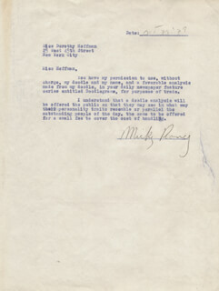 MICKEY ROONEY - DOCUMENT SIGNED 10/30/1939