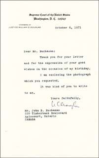 Autographs: ASSOCIATE JUSTICE WILLIAM O. DOUGLAS - TYPED LETTER SIGNED 10/06/1975