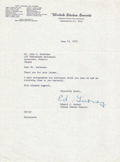 EDWARD GURNEY - TYPED LETTER SIGNED 06/15/1973