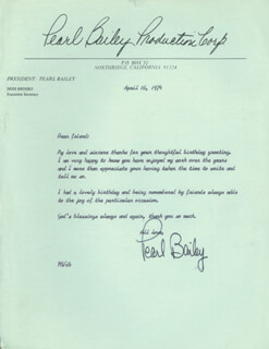 Autographs: PEARL BAILEY - TYPED LETTER SIGNED WITH SECRETARIAL SIGNATURE 04/16/1974