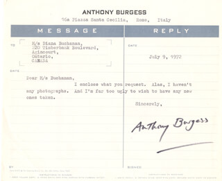 ANTHONY BURGESS - TYPED LETTER SIGNED 07/09/1972