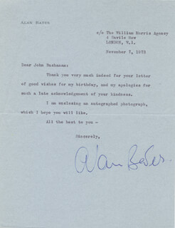 SIR ALAN BATES - TYPED LETTER SIGNED 11/07/1973