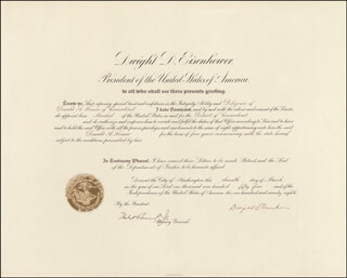 Autographs: PRESIDENT DWIGHT D. EISENHOWER - CIVIL APPOINTMENT SIGNED 03/11/1954 CO-SIGNED BY: HERBERT BROWNELL JR.